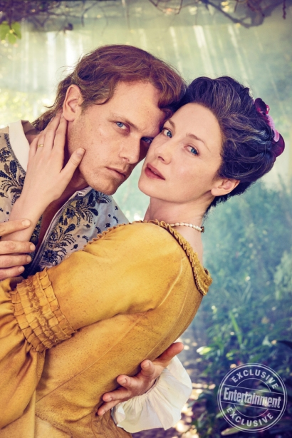 Outlander Caitriona Balfe and Sam Heughan photographed on the Outlander set in Cape Town, South Africa on March 9, 2017 by Ruven Afanador Balfe's Costume: Marnie Ormiston; Hair and Makeup: Anita Anderson; Heughan's Costume: Kirsty Allen; Hair and Makeup: Wendy Kemp Forbes; Set Dressers: Jason Broderick and Thomas Leppan; Production:Baker Kent Productions